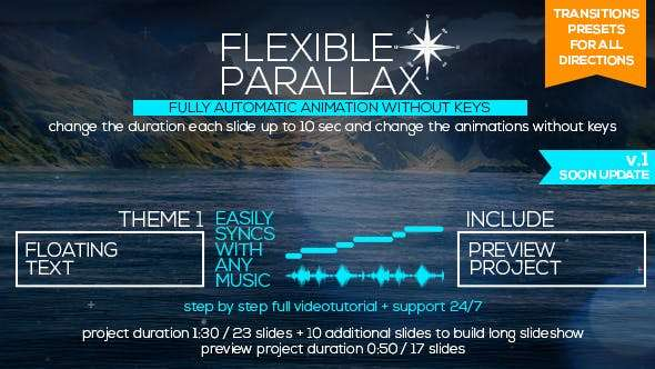 Videohive  19788192 - Flexible Parallax Slideshow_Floating Text - After Effect Template